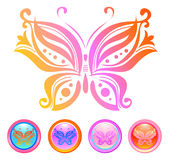 Vector design of butterfly. And buttons created in glass style Stock Image