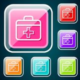 First aid. Vector design of button icon set with symbol concept Royalty Free Stock Images