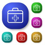 First aid. Vector design of button icon set with symbol concept Stock Photography
