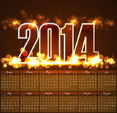 Vector design Calendar 2014 template bright backgr Royalty Free Stock Image