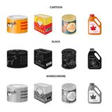 Vector design of can and food icon. Set of can and package stock vector illustration. Vector illustration of can and food symbol. Collection of can and package royalty free illustration