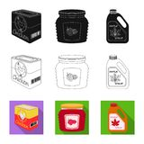 Vector design of can and food icon. Set of can and package stock symbol for web. Vector illustration of can and food symbol. Collection of can and package stock vector illustration