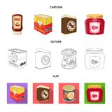 Vector design of can and food logo. Collection of can and package vector icon for stock. Vector illustration of can and food icon. Set of can and package stock stock illustration