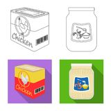 Isolated object of can and food sign. Set of can and package vector icon for stock. Vector design of can and food logo. Collection of can and package stock stock illustration