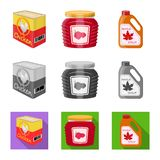 Isolated object of can and food symbol. Collection of can and package stock symbol for web. Vector design of can and food sign. Set of can and package stock vector illustration