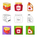 Isolated object of can and food icon. Set of can and package stock vector illustration. Vector design of can and food symbol. Collection of can and package stock illustration