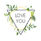 Vector design card. Natural botanical triangle geometric Frame   Royalty Free Stock Images