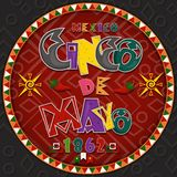 Vector design in circular ornament_7_on Mexican theme celebrating Cinco de mayo in flat lettering calligraphy in circle stock illustration