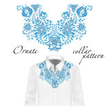 Vector design for collar shirts, blouses. Colorful ethnic flowers neck. Royalty Free Stock Images