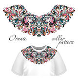 Vector design for collar t-shirts and blouses. Colorful ethnic flowers neck line. Embroidery for Fashion Stock Photography