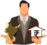 Vector design concept of businessman with rupee Stock Photography