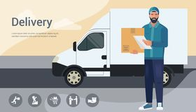 Vector design concept with illustration of a bearded courier man from a cargo delivery service royalty free illustration