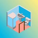Isometric hostel bath and toilet room vector illustration Royalty Free Stock Photo