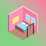 Isometric hostel bed room vector illustration. Vector design concept with isometric 3d hostel or hotel bed room illustration Stock Image