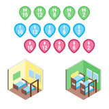 Isometric hostel bed rooms vector illustration. Vector design concept with isometric 3d hostel or hotel bed rooms and badges illustration Royalty Free Stock Photo