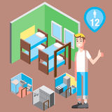 Isometric hostel bed room with man vector illustration Royalty Free Stock Image