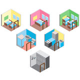 Isometric hostel rooms set vector illustration Royalty Free Stock Images