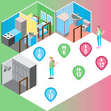 Isometric hostel rooms set vector illustration Stock Images