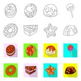 Vector design of confectionery and culinary icon. Collection of confectionery and product stock symbol for web. Vector illustration of confectionery and vector illustration