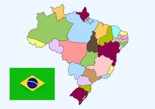 Brazil maps. Vector design of country map province line Royalty Free Stock Images