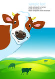 Vector design with cow and landscape Stock Photography