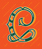 Vector design about decorated alphabet letter C Stock Photography