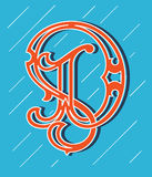 Vector design about decorated alphabet letter D Royalty Free Stock Photo