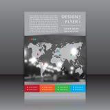 Vector Design des unscharfen Fotos des Fliegers Whit, der Farbelemente und der Karte Stockbild