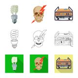 Vector design of electricity and electric icon. Collection of electricity and energy stock vector illustration. stock illustration