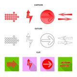 Vector design of element and arrow sign. Collection of element and direction stock symbol for web. royalty free illustration