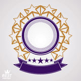 Vector design element, celebrative pentagonal stars web emblem w Stock Image