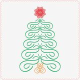 Vector design element. Hand-drawn christmas tree. Typographic and calligraphic. Vector illustration Stock Image