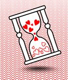Vector design element - hourglass with hearts and shadow Stock Images