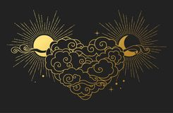 Cloudy heart, sun and moon on black background. Vector illustration. Vector design element in oriental style. Golden sky objects on dark background Royalty Free Stock Image