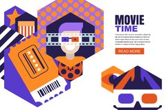 Vector design for cinema flyer, movie poster, entrance ticket or banner. Man in 3d glasses, cinema ticket illustration. Vector design elements for cinema flyer Stock Photography