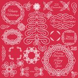 Vector design elements. Hand-drawn flourishes. Cristmas theme. Typographic and calligraphic. Doodle style Stock Images