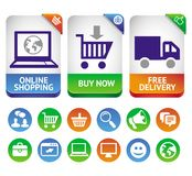 Vector design elements for internet shopping. Icons and signs Royalty Free Stock Photo