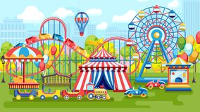Bright vector of city amusement park vector illustration