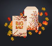 Vector design envelope, card and autumn leaves. It can be used as invitation and greetings for Thanksgiving Royalty Free Stock Image