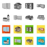 Isolated object of facade and housing logo. Set of facade and infrastructure stock symbol for web. Vector design of facade and housing icon. Collection of vector illustration