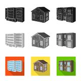 Vector design of facade and housing icon. Set of facade and infrastructure stock symbol for web. Vector illustration of facade and housing symbol. Collection of stock illustration