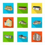 Vector design of facade and housing icon. Set of facade and infrastructure stock symbol for web. Vector illustration of facade and housing symbol. Collection of royalty free illustration