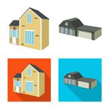 Isolated object of facade and housing sign. Set of facade and infrastructure vector icon for stock. Vector design of facade and housing logo. Collection of royalty free illustration