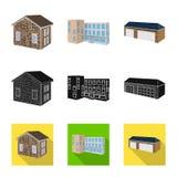 Vector design of facade and housing logo. Set of facade and infrastructure vector icon for stock. Vector illustration of facade and housing icon. Collection of vector illustration