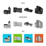 Vector design of facade and housing logo. Set of facade and infrastructure stock vector illustration. Vector illustration of facade and housing icon. Collection vector illustration