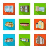 Vector design of facade and housing sign. Set of facade and infrastructure stock symbol for web. Vector illustration of facade and housing logo. Collection of stock illustration