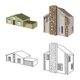 Isolated object of facade and housing icon. Set of facade and infrastructure stock symbol for web. Vector design of facade and housing symbol. Collection of stock illustration