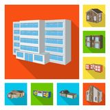 Vector design of facade and housing symbol. Set of facade and infrastructure vector icon for stock. Vector illustration of facade and housing sign. Collection stock illustration