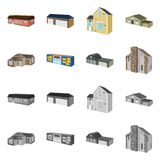 Isolated object of facade and housing icon. Collection of facade and infrastructure stock symbol for web. Vector design of facade and housing symbol. Set of royalty free illustration