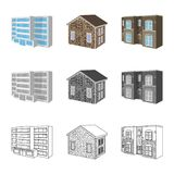 Isolated object of facade and housing icon. Collection of facade and infrastructure vector icon for stock. Vector design of facade and housing symbol. Set of royalty free illustration